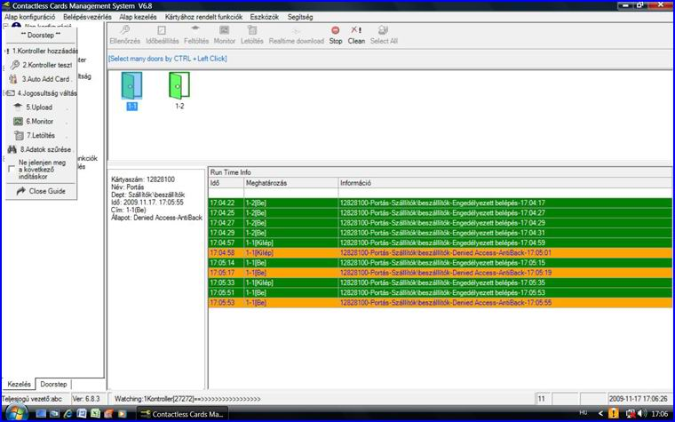 CRYPTEX beléptető rendszer egyszerűen kezelhető magyar nyelvű szofteverrel