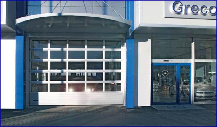 DITEC ipari kapu FULL VISION panoráma ablakokkal
