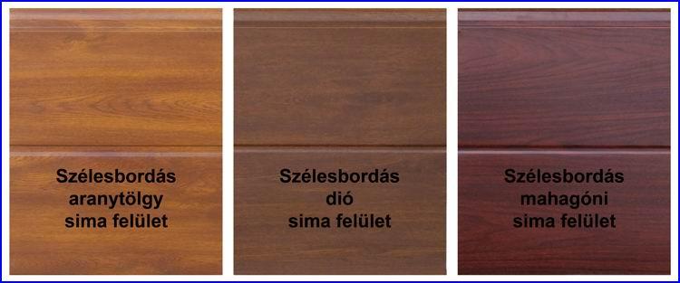 ECOTOR garázskapu panelek szélesbordás mintázatú, aranytölgy, dió és mahagóni fadekor kivitelben