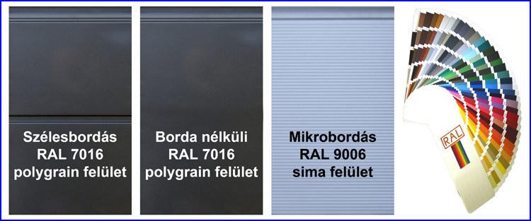 ECOTOR garázskapu szélesbordás, borda nélküli és mikrobordás mintázatú panelek, szürke és ezüstszürke színben