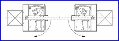 Kapuoszlopok között elhelyezve 110°-os nyitással