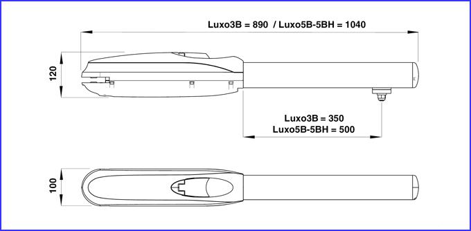 DITEC LUXO kapunyitó motor méretei