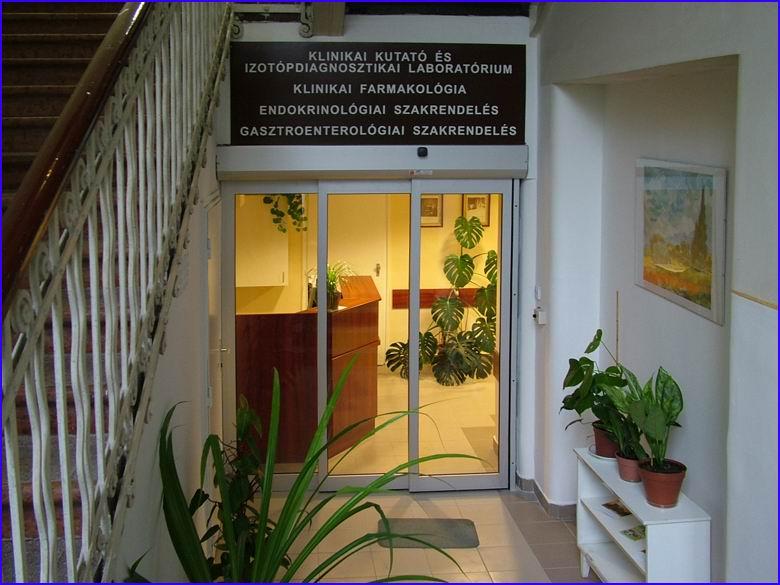 Teleszkópos automata ajtó referencia - SOTE 1-es számú belgyógyászati klinika izotóp laboratóriumnál zárt helyzetben