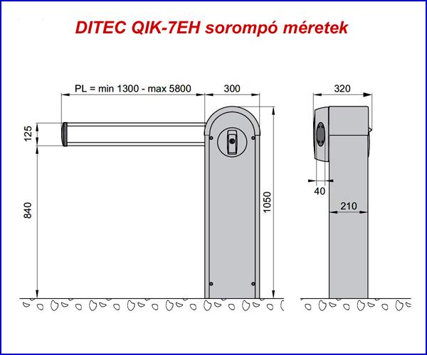 DITEC QIK-7EH sorompó méretei