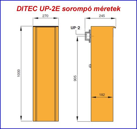 DITEC UP-2E sorompó méretek